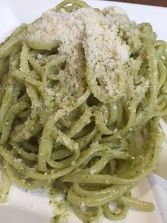 Conti Artisan Fettuccine Pasta with Conti Pesto Genovese.  The pasta is bronze drawn and hand made.