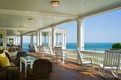 Porch with a view at Ocean House Hotel, Watch Hill, Rhode Island