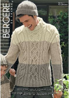 Bergere de France knitting pattern for a hat and man's three colour sweater and hat in Alaska Aran Knitting Patterns, Knitting Designs, Shawl Collar Sweater, Men Sweater, Winter Outfits Men, Cable Knit Sweaters, Knit Crochet, Size Chart, Colors