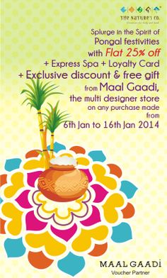 Chennai-ities Pongal celebrations will definitely be doubled with our exciting offer just for you….From 6th −16th Jan..walk into The Nature's Co. Chennai store, Ground floor,  Express Avenue Mall and treat yourself to the surreal world of natural beauty.