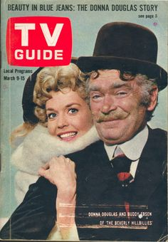 """March 9, 1963. Donna Douglas and Buddy Ebsen of CBS's """"The Beverly Hillbillies."""" 1960s Tv Shows, Old Tv Shows, Donna Douglas, Buddy Ebsen, The Beverly Hillbillies, Cartoon Tv Shows, Tv Land, Vintage Tv, Tv Guide"""