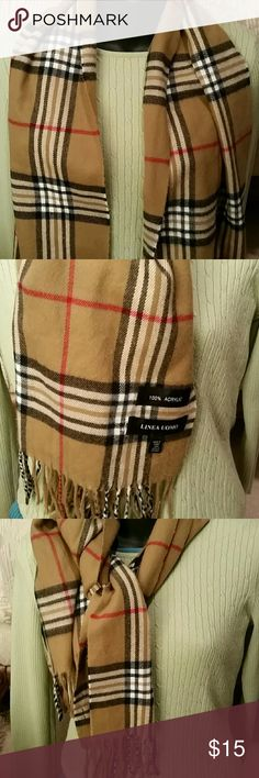 BURBERRY  STYLE SCARF LINEA UOMO TAG,GREAT SCARF   WORN ONCE SHORT WHILE SO IT'S LIKE NEW. ADD TO YOUR WARDROBE TODAY..BUNDLE TO SAVE. SZ12X46. LINEA UOMO Accessories Scarves & Wraps