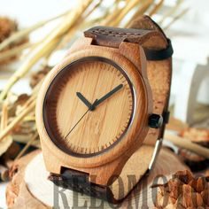 Macalinaw Bamboo Wooden Watch with genuine vintage brown leather strap – Relomoto