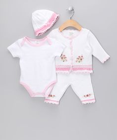 White & Pink Trim Flower Cardigan Set - Infant #zulily #fall