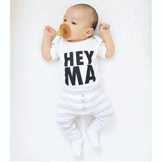 White Hey Ma Modern Baby, Boy, Girl, Unisex, Infant, Toddler, Newborn, – Urban Baby Co.