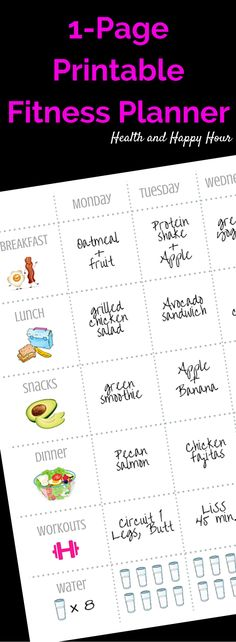 Free 1 page printable fitness planner to organize your weekly clean eating diet and workout plan. It's a great aid to lose weight or just for healthy living. Great weightloss tool! http://healthandhappyhour.com/1-page-printable-fitness-planner/