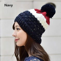 Hit color knit hat Hairball decoration winter hats for women