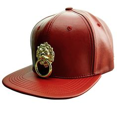 5828dbd0d7f3b Red Faux Leather Snapback Hat