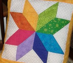 Traditional 8 point star quilt block pillow by AStitchinTime72, $22.00