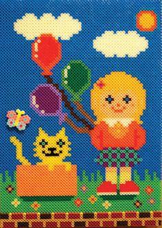 Girl perler beads by Mashiro