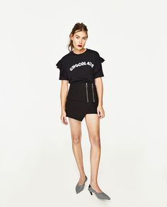 Image 1 of SHORT SLEEVE T-SHIRT WITH FRILLS. from Zara