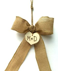 burlap wedding pew bow... super easy and your initials are already on there!!