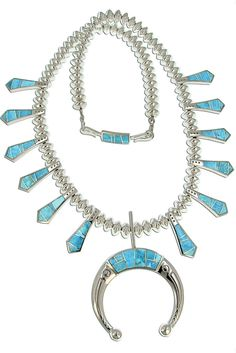 David Rosales Squash Blossom Necklace with Inlaid Kingman Turquoise and Matching Earrings. This is one of the most stunning squash blossoms I have ever seen!