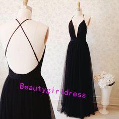 Bg151 Charming Prom Dress,Black Prom Dress,Open Back Prom Dress,Deep V Neck Prom Dress,Floor-Length Party Dress,Beautiful Evening Dress