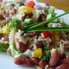 """""""This delicious cold rice salad has the great flavors of brown rice, fresh veggies, and chopped raw almonds. This has replaced high fat, low nutrition picnic salads in this household. Brown Rice Salad, Korean Side Dishes, Healthy Dinner Recipes, Healthy Meals, Healthy Food, Diabetic Recipes, Vegetarian Recipes, The Fresh, So Little Time"""
