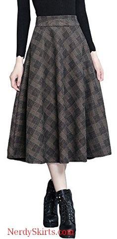 UUYUK Women Checkered Bodycon High Rise Fall-Winter Zip Up Club Party Mini Skirts