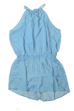 Chambray halter neckline romper that ties in the back and has an elastic waistband