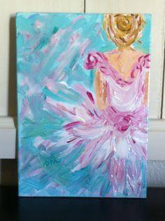 Pinkarina: The Emma Kate Collection  By: Hope Rowell McDonald #Ballerina #art #pink #girl #teal #painting #canvas #artwork #artist #dance #dancer art #ballerina art #acrylic #painting #paint #whimsical #decor