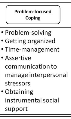 Problem-focused coping. This form of coping is confronting what the stressor is.