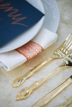 gold flatware, photo by Jordan Weiland http://ruffledblog.com/opulent-florida-wedding-inspiration #weddingideas #placesetting