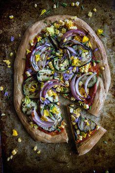 Grilled Eggplant, Zucchini and Corn Pizza
