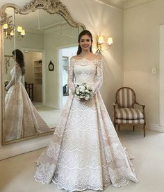 This pretty long sleeve lace detailed wedding dress can be recreated for you in any size. Changes to custom #weddingdresses are also available. If you are a bride that loves a couture style but the cost is out of your range we can help with an #inspired version that will look similar but cost less. We can make styles for all kinds of #weddings. For more info on #replicas and custom #dresses please email us directly.