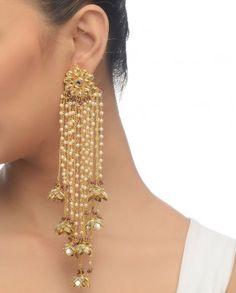 Kundan Dangling Earrings India Jewelry, Ethnic Jewelry, Pearl Jewelry, Wedding Jewelry, Jewelery, Kerala Jewellery, Fancy Jewellery, Wedding Accessories, Pearl Earrings