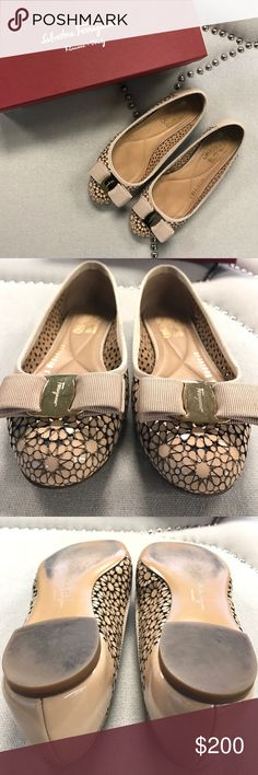 Salvatore Ferragamo Shelly New Bisque Patent Flats Perfect condition still- please view images carefully Salvatore Ferragamo Shoes Flats & Loafers