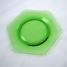 Heisey Hexagon 1224 Moongleam 8 in Glass Salad Plate by charmings