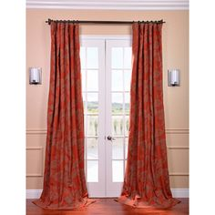 Bali Red Printed Cotton Curtain Panel [living room]