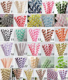 100 Colored Striped Paper Drinking Straws-Cake Pop Sticks Party Drinking Straws for Wedding Birthday Blue Yellow Brown Pink Green Grey Ivory on Etsy, $13.93 CAD
