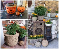 QUIKRETE Vinyl Concrete Patcher, Water and a little creativity yields a lot of fun for Halloween Decorations. The pumpkin garden planters were molded using inexpensive plastic candy buckets.   What ideas will you cement with QUIKRETE?