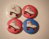 24 Roller Skating Skate Girl Pinback Button Party Favors Brooches. $10.00, via Etsy.