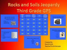 Jeopardy review game created to meet all third grade Georgia performance science standards for rocks, minerals, and soils. Contains categories/ques...