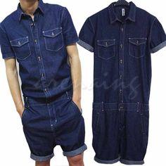 Men-Slim-One-Piece-Jeans-Jumpsuits-Denims-Dungarees-Trouser-Overalls-Short-Suits