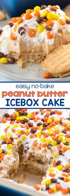 No Bake Peanut Butter Icebox Cake - this easy lush dessert layers peanut butter sandwich cookies with peanut butter pudding! It's the ULTIMATE peanut butter no bake dessert!