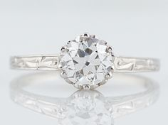 Antique Engagement Ring Art Deco GIA Certified .70 Old European Cut Diamond in 14k White Gold-Minneapolis, MN filigreejewelers.com