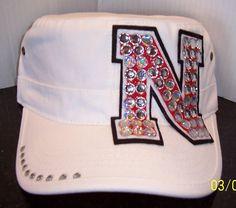 """Nebraska """"Huskers"""" BLING Hat - White. $25.00, via Etsy."""