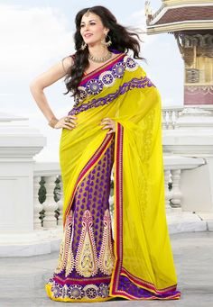 #Yellow Faux Georgette and Jacquard Net Lehenga Style #Saree with Blouse  @  $101.33