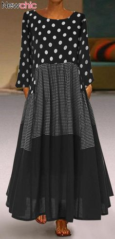 Casual Polka Dots Patch Plaid Long Sleeve Dress - Casual Polka Dots Patch Plaid Long Sleeve Dress The Effective Pictures We Offer You About teenager - Women's Fashion Dresses, Boho Fashion, Casual Dresses, Autumn Fashion, Womens Fashion, Polka Dot Maxi Dresses, Prom Dress Shopping, New Arrival Dress, Mode Outfits