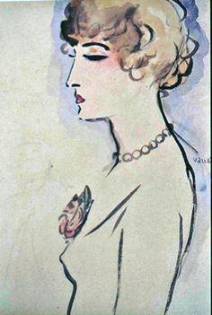 Femme a la Rose - Kees Van Dongen  Dutch 1877-1968