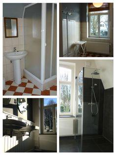 De make- over van vakantiehuis Buitenlust: de badkamer is helemaal gestript en we hebben een nieuwe indeling gemaakt. De inloopdouche hebben we naast het raam geplaatst; werkt ruimtelijk. Heerlijk om voor eens en altijd afscheid te nemen van de plastic douchecabine.