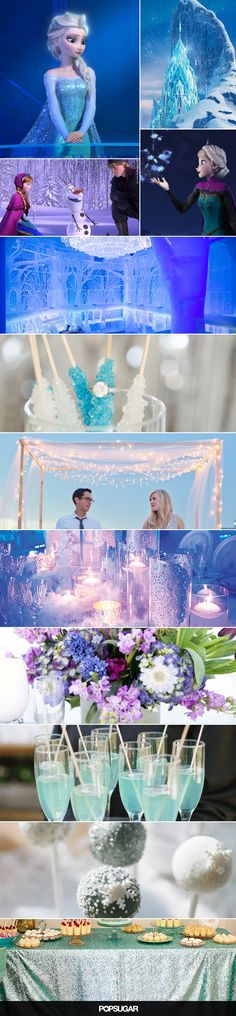 Wedding inspiration and ideas from Disney's Frozen! Even though Frozen is my least favorite disney movie it has some cool ideas (pun intended) Frozen Wedding Theme, Disney Inspired Wedding, Princess Wedding, Wedding Themes, Frozen Theme, Disney Weddings, Wedding Ideas, Frozen Party, Wedding Table