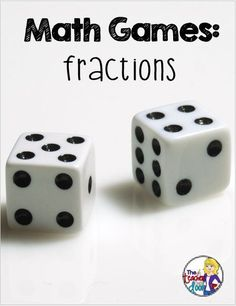 Fun post about how to use dice to play free math games for fractions, place value, and measurement and data. Your kids will love these! Fourth Grade Math, Second Grade Math, Third Grade Math, Free Math Games, Fun Math, Dice Games, Math Fraction Games, Math Math, Teaching Fractions