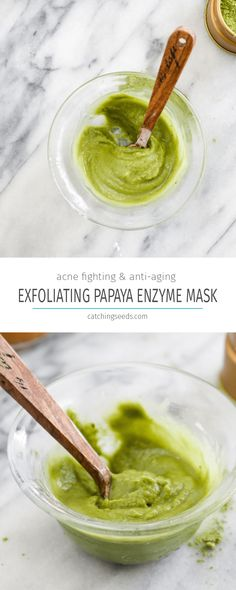 This 2 ingredient Exfoliating Papaya Enzyme Mask will leave you with glowing, clean, and healthy skin. This easy DIY will reduce aging, discoloration, and acne. | CatchingSeeds.com