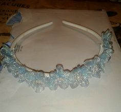 Pretty pale blue floral and pearl alice band