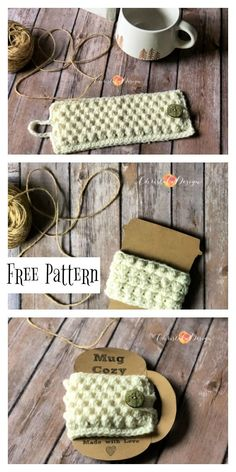 Free crochet cozy pattern perfect for gift cards with a handmade touch. free crochet pattern cup cozy crochet mug hug crochet coffee cozy crochet crochet coffee wrap gift card Christmas gift easy crochet gift fast crochet gift. Crochet Coffee Cozy, Crochet Cozy, Crochet Gratis, Coffee Cup Cozy, Coffee Cups, Crochet Christmas Cozy, Easy Coffee, Crochet Motif, Crochet Lace