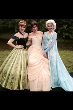 Anna, Belle & Elsa, THIS IS THE BEST PHOTO EVER! My three favorites are together! :)