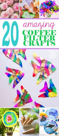 Check out these 20 Amazing Coffee Filter Crafts! Coffee filter crafts are one of my favorite types of kids art. It's so fun to see what you can create just by digging around your kitchen Diy Crafts For School, Easy Arts And Crafts, Easy Crafts For Kids, Easy Diy Crafts, Toddler Crafts, Preschool Crafts, Projects For Kids, Fun Crafts, Art For Kids