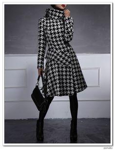 Houndstooth Tweed Wool Ruffled Coat